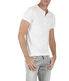 b3de33f6030e12 E-shop Tee-shirt Col Rond Boutonné Blanc Japan Rags pour homme sur Place