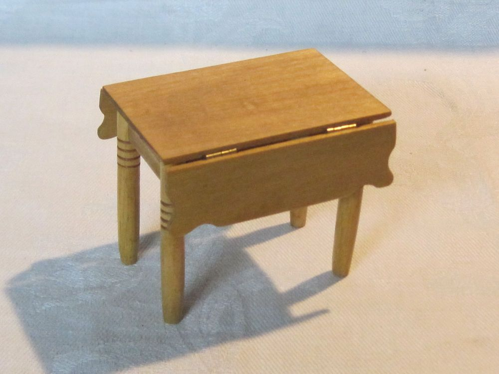 Vintage miniature dollhouse 1:12 scale wooden drop leaf table, artist signed #Unbranded