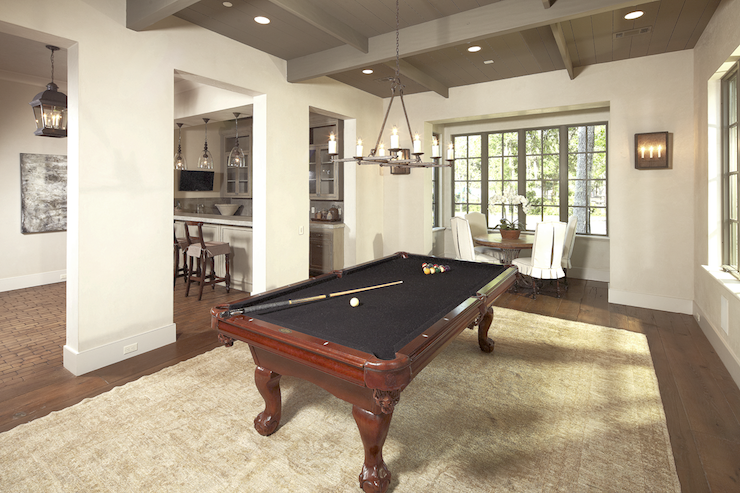 Dining Room Used As Game Room With Oriental Rug Pool