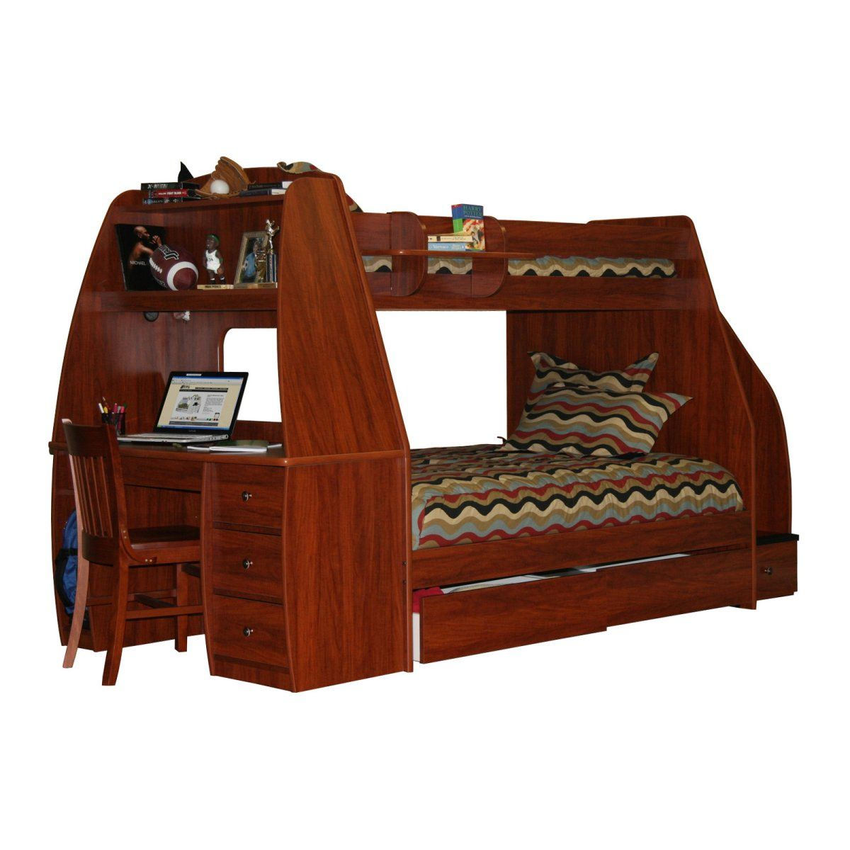 Metal loft bed with desk underneath  Enterprise Twin over Full Bunk Bed with Trundle  Desk  Stairway