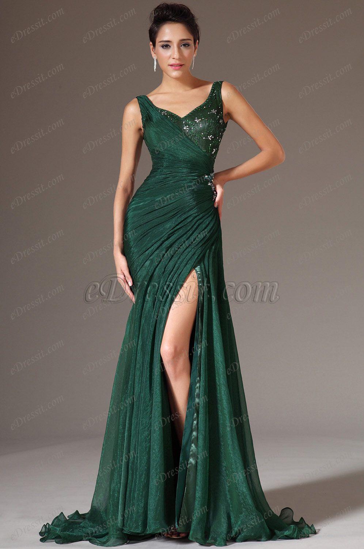 Green V Neck High Slit Evening Gown00145704 Dress Pinterest