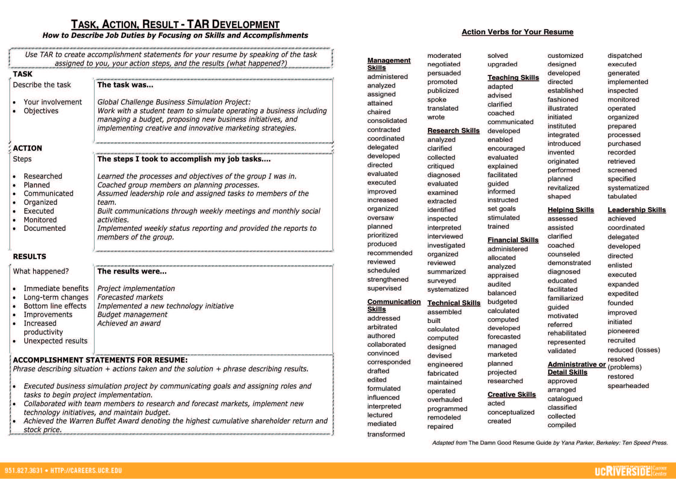Resume Pamphlet Pt   Career Center Resources