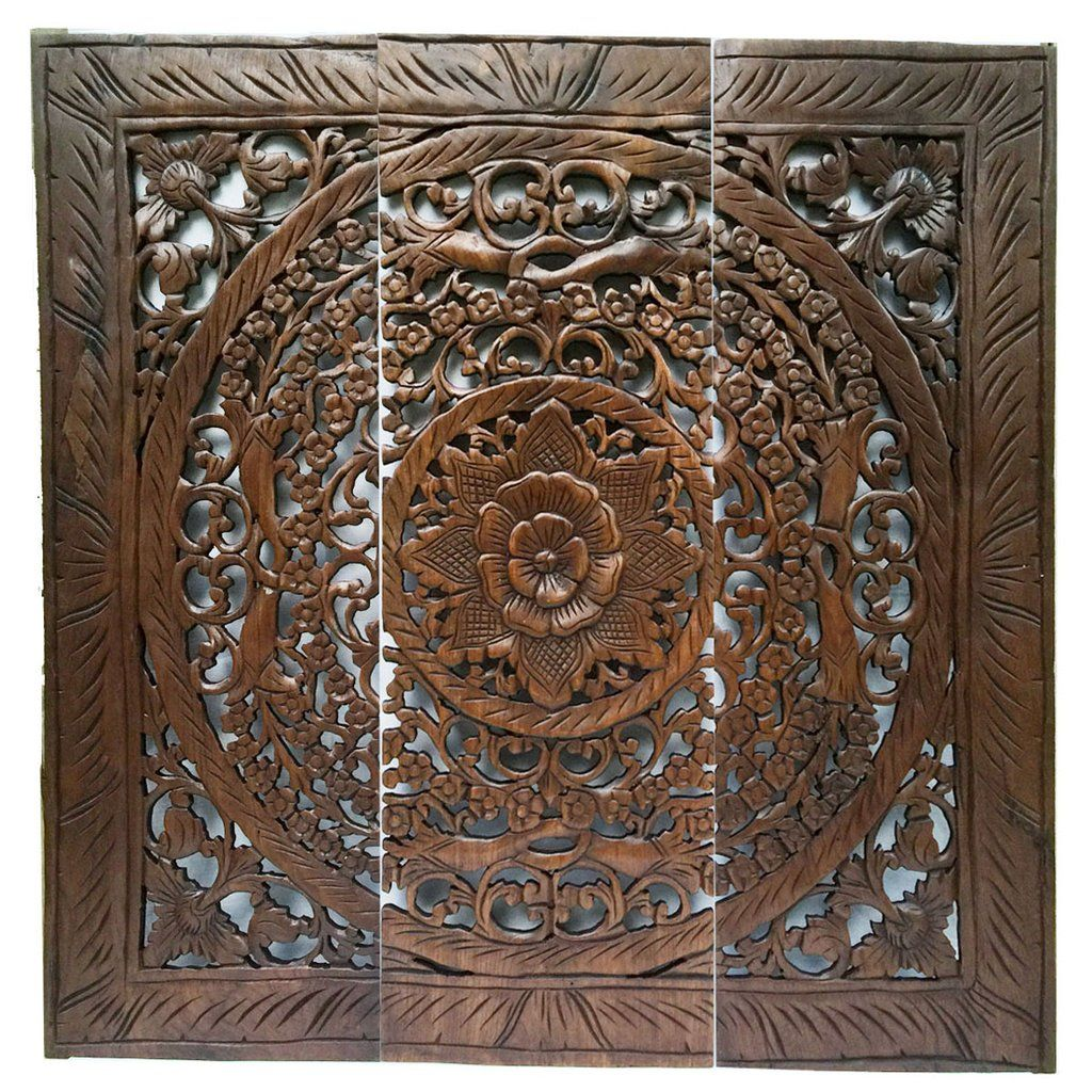 Clearance large wood carved wall art panel asian home decor dark