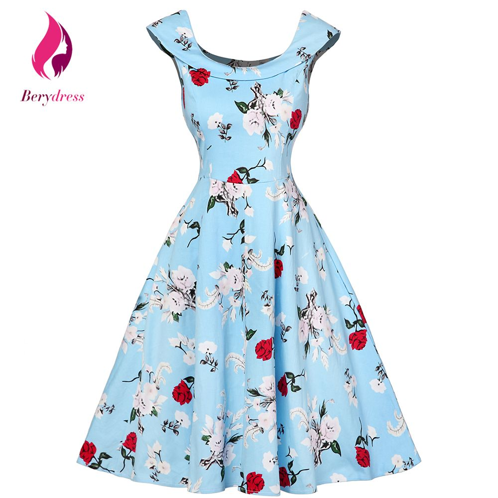 Summer Women Dress Audrey Hepburn Floral Robe Retro Swing Clothing ...