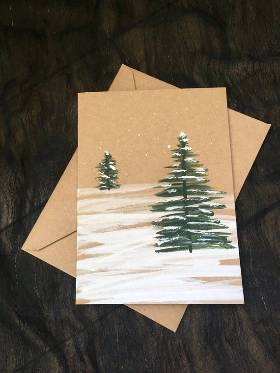 Winter trees hand-painted card | Etsy