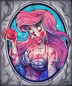 how to draw zombie ariel