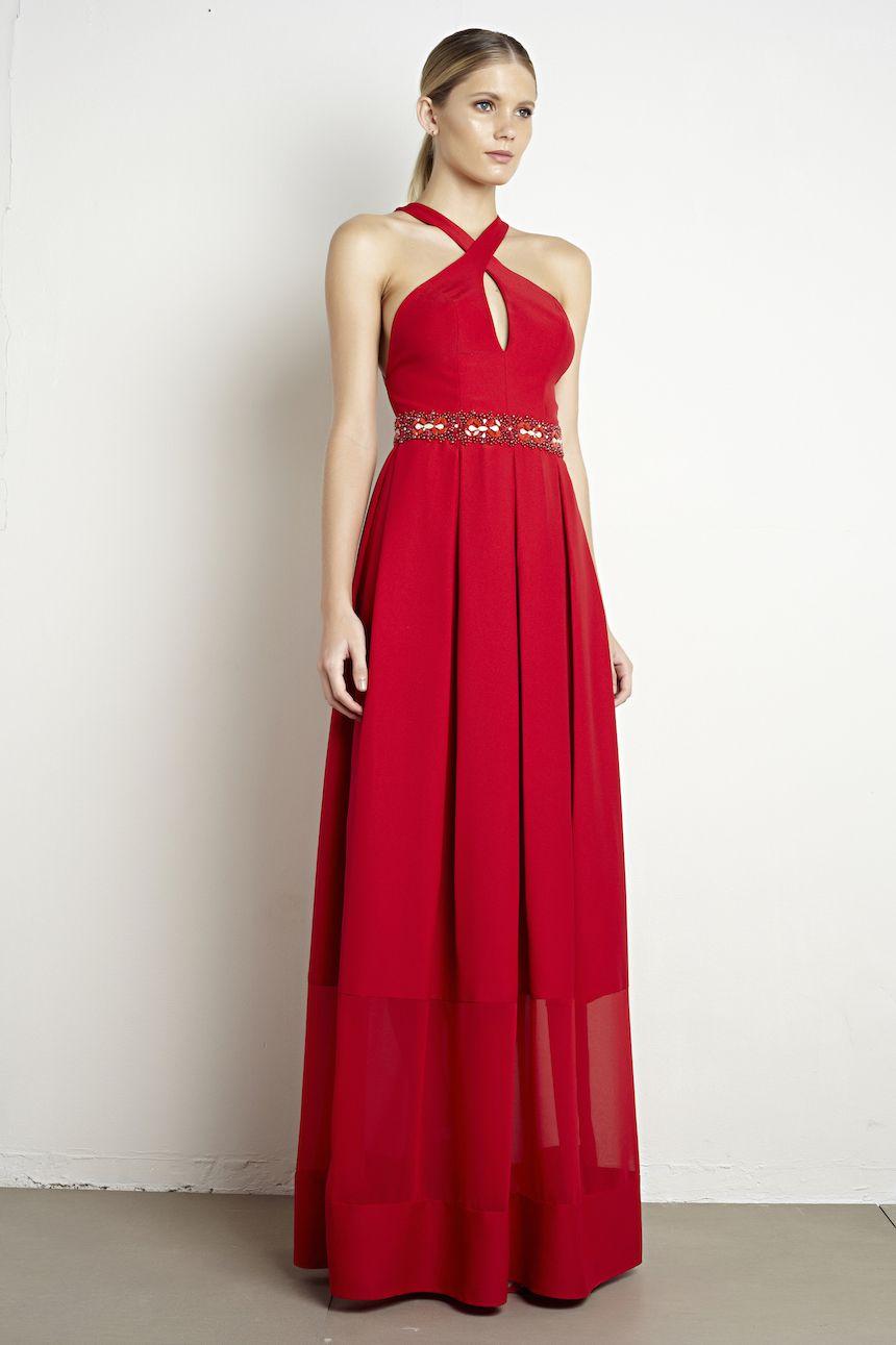 ffced90a72 Vestido longo vermelho em crepe com cinto bordado