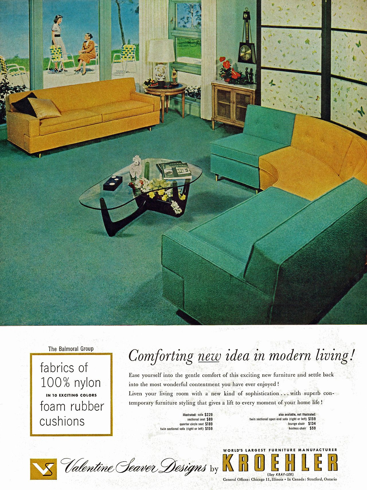 A stunning sectional couch from Kroehler in turquoise and yellow...