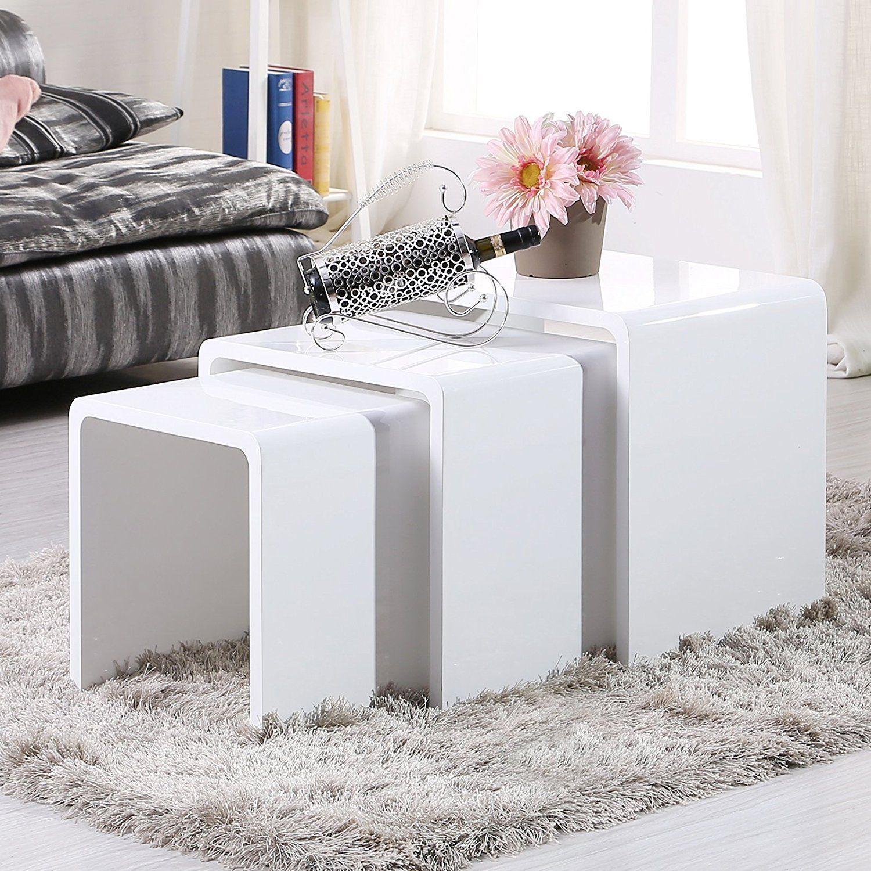 uenjoy satztisch hochglanz beistelltisch set wei. Black Bedroom Furniture Sets. Home Design Ideas
