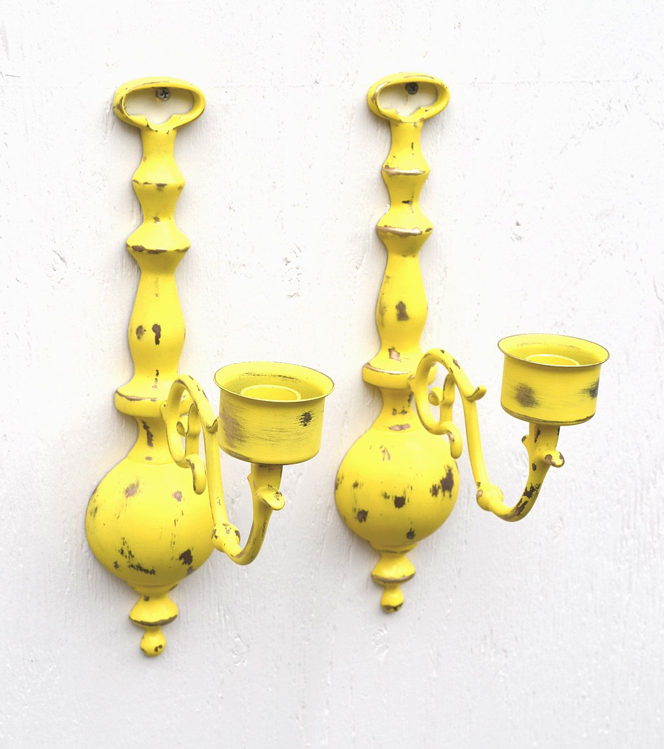 Candle wall sconce vintage brass pair in distressed sun yellow