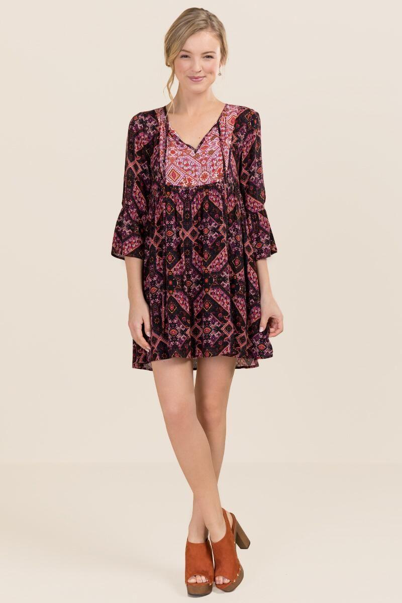 Sara Cold Shoulder Paisley Shift Dress- Wine model