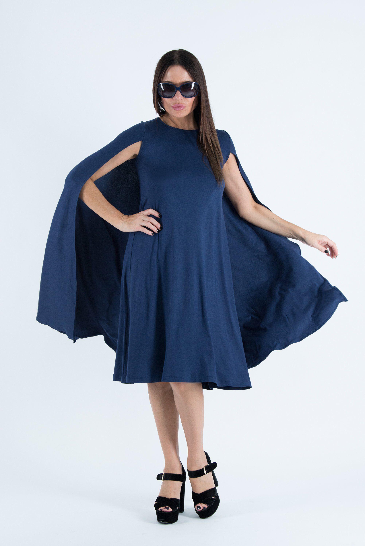 Navy blue cotton woman dress dress for woman loose dress