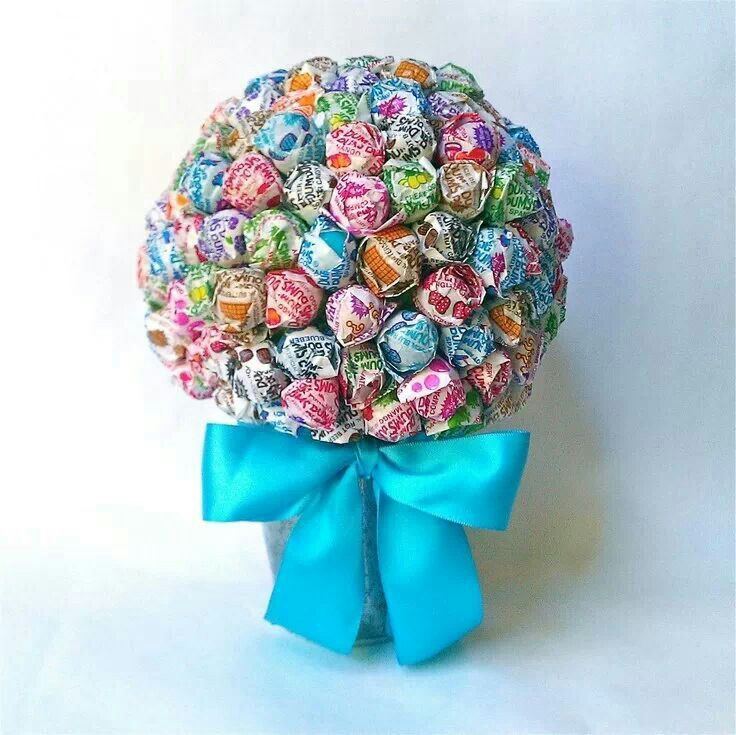 Make a Lollipop Bouquet.  Use a Styrofoam ball and secure ball to a plastic floral pot. Arrange lollipops as desired by sticking them I to the Styrofoam. Add your choice of decorative embellishments and you have a cute edible gift.