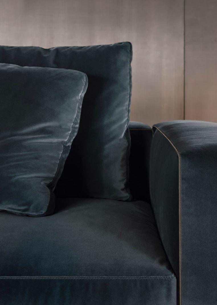 Minotti 2014 Leonard Sofa In Velvet Cover With Eco Leather