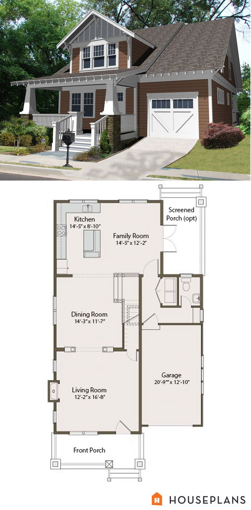 Craftsman Bungalow Floor Plan And Elevation 2100sft Plan 461 25