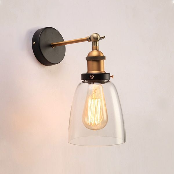 Bathroom Sconces Overstock barbara 1-light clear glass edison wall lamp with light bulb