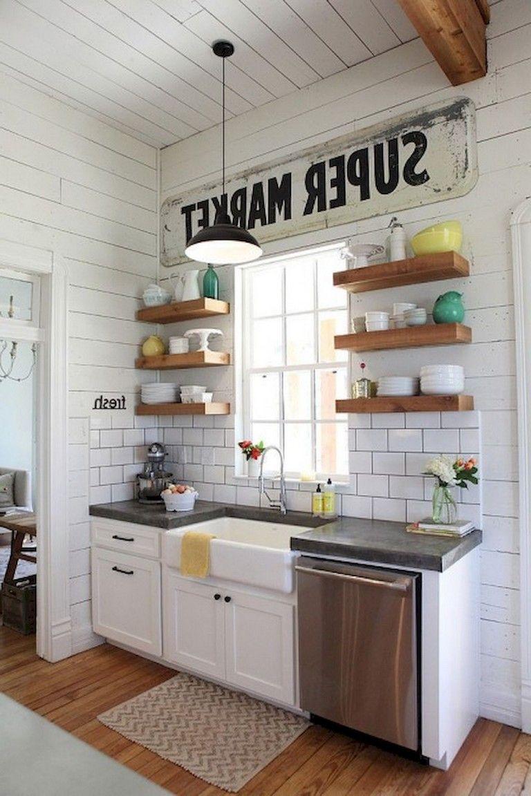 40 fashionable farmhouse kitchen cabinets decor ideas and makeover rh pinterest com