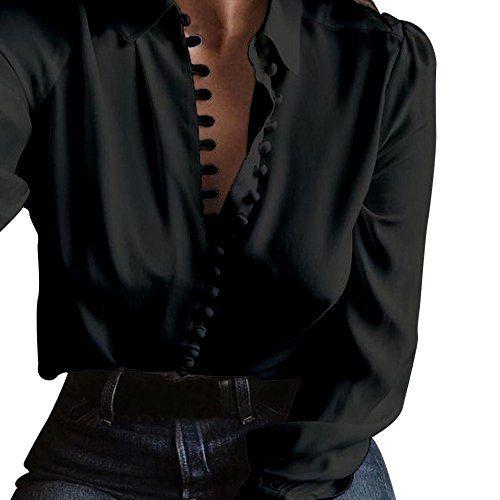 eb582a9668a8 Youngii Chemisier Femme Chic Manche Longue Chemise Grande Taille Tops (2XL  Noir)