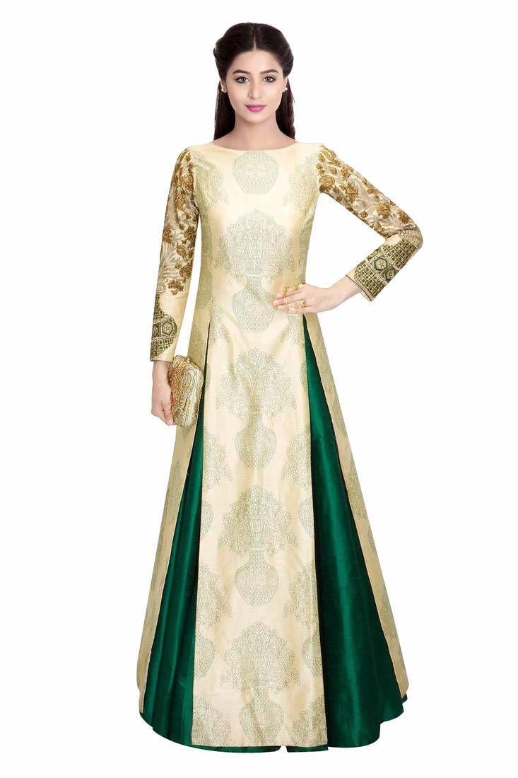 5989b762df8 Green Plain Art #Silk Unstitched #Lehenga #Choli Price: $50.00  #designerfashion #ethnicwear #dresses
