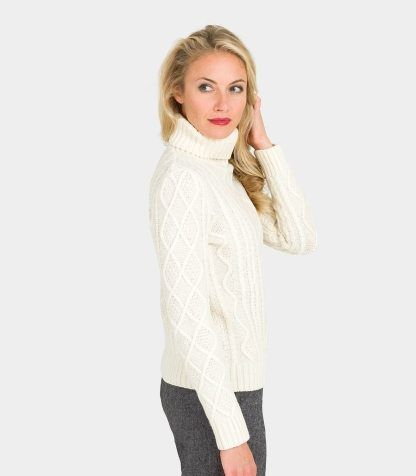 35b220d0974 Cream White Lambswool Chunky Cable Polo Neck Jumper for Women ...