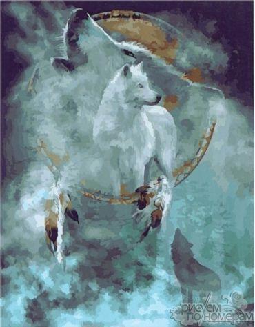 Все раскраски по номерам Ловец снов. Белые волки PaintBoy ...