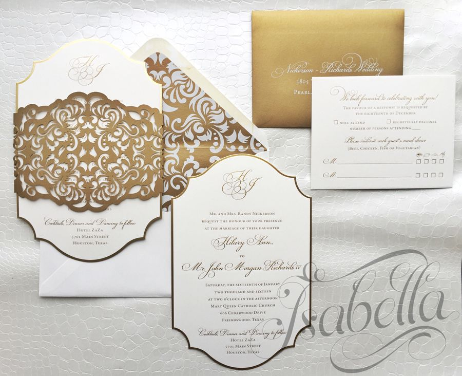 The menus were diecut to fit chargers and are gold foiled using the - best of wedding invitation card sample design
