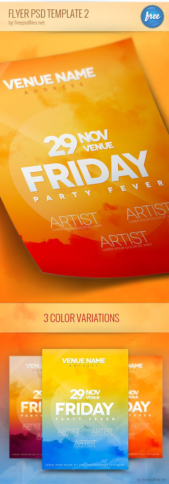 Flyer psd template designed in 3 different color schemes ...