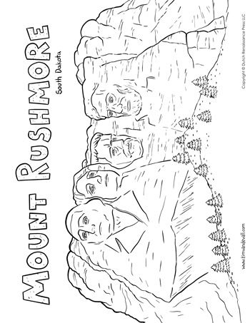 A printable coloring page of Mount Rushmore in South Dakota ...