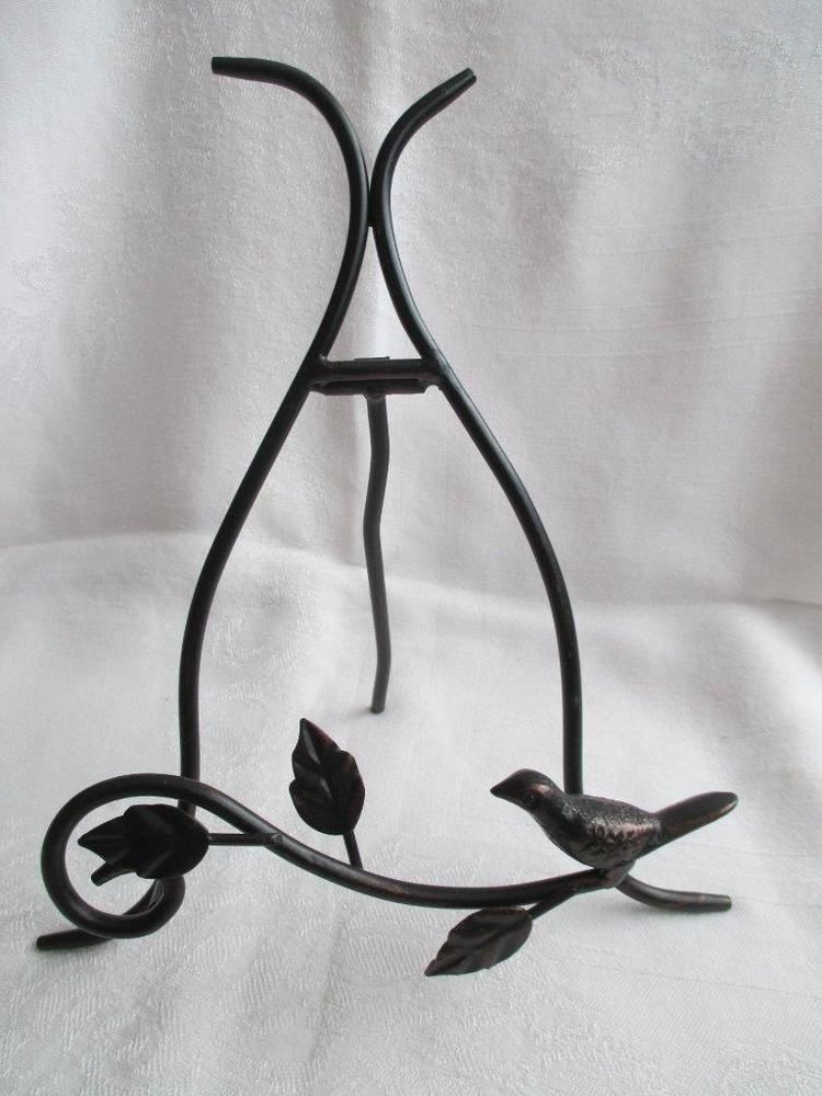 Black Metal DECORATIVE PLATE HOLDER~Easel Display Stand w/ Scrolling Vine : metal plate holder stand - pezcame.com