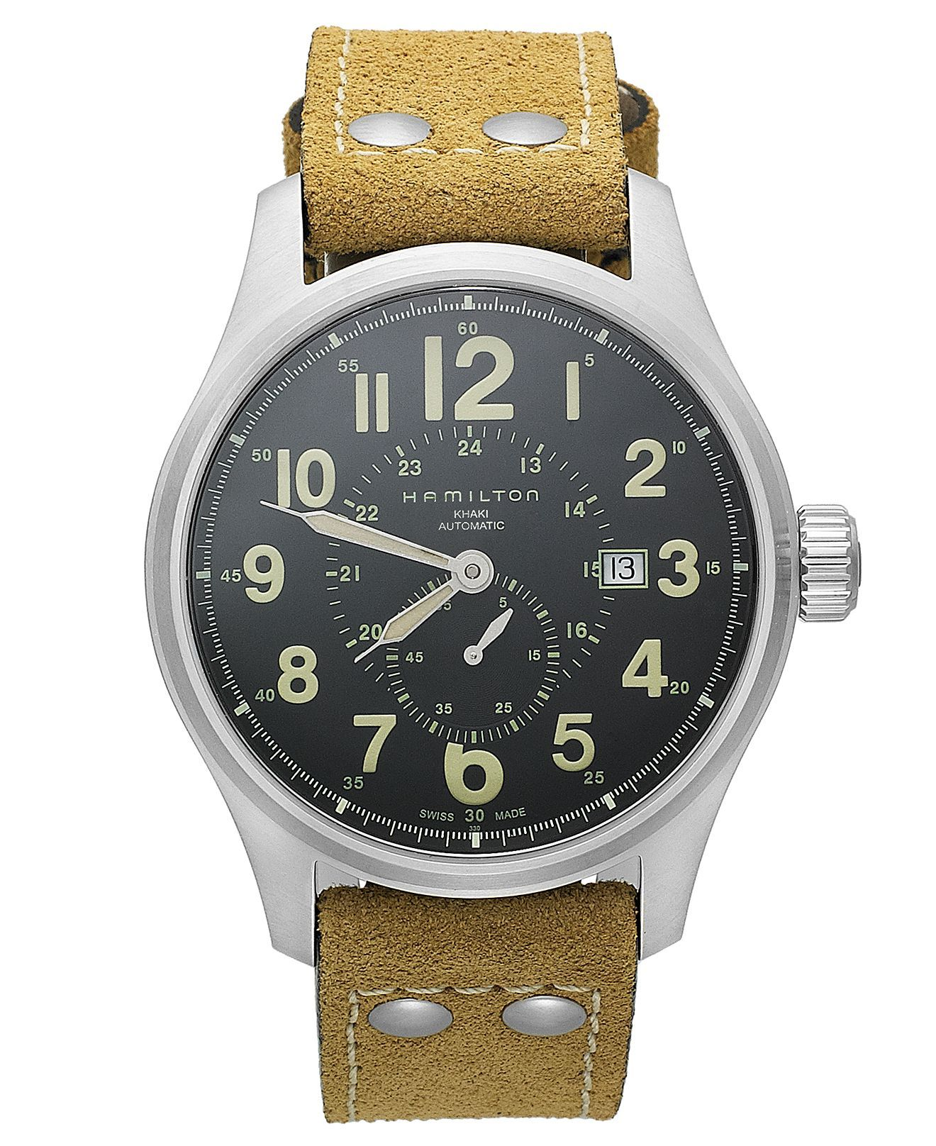 7c5fbdeda Hamilton Watch, Men's Swiss Automatic Khaki Field Officer Brown Leather  Strap 44mm H70655733 - All Watches - Jewelry & Watches - Macy's