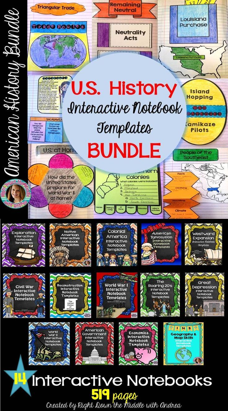 Social Studies Interactive Notebook Bundle US History Social - Interactive us history map