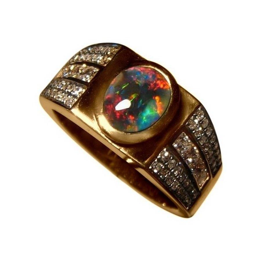 Mens Black Opal and Diamond Ring 14k Gold Black opal Opal rings