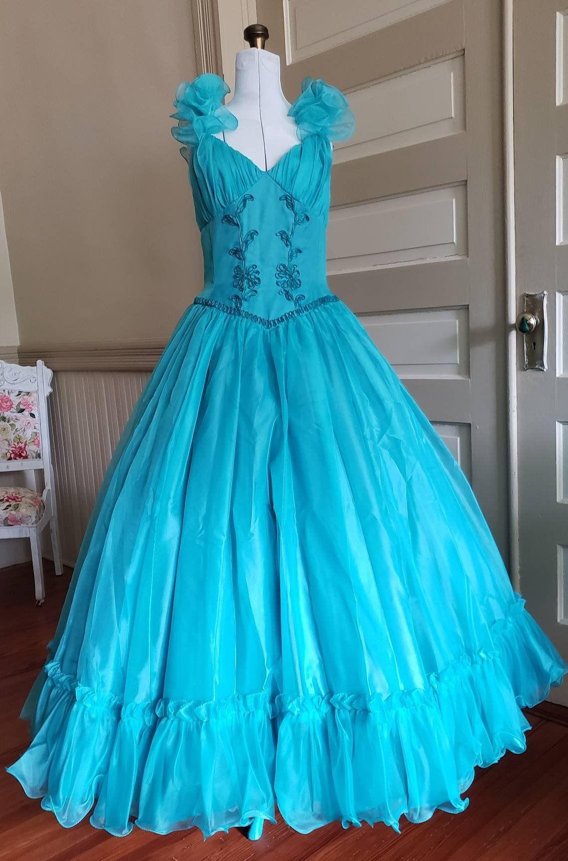 80s Prom Dress Vintage Aqua Ball Gown Mike Benet Formals Etsy Prom Dresses Vintage Ball Gowns 80s Prom Dress [ 1725 x 1139 Pixel ]