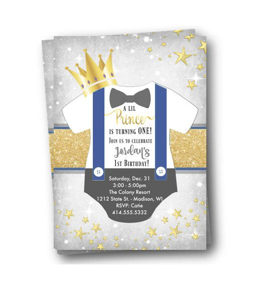 Prince Birthday Invitation royal prince first 1st birthday gold and