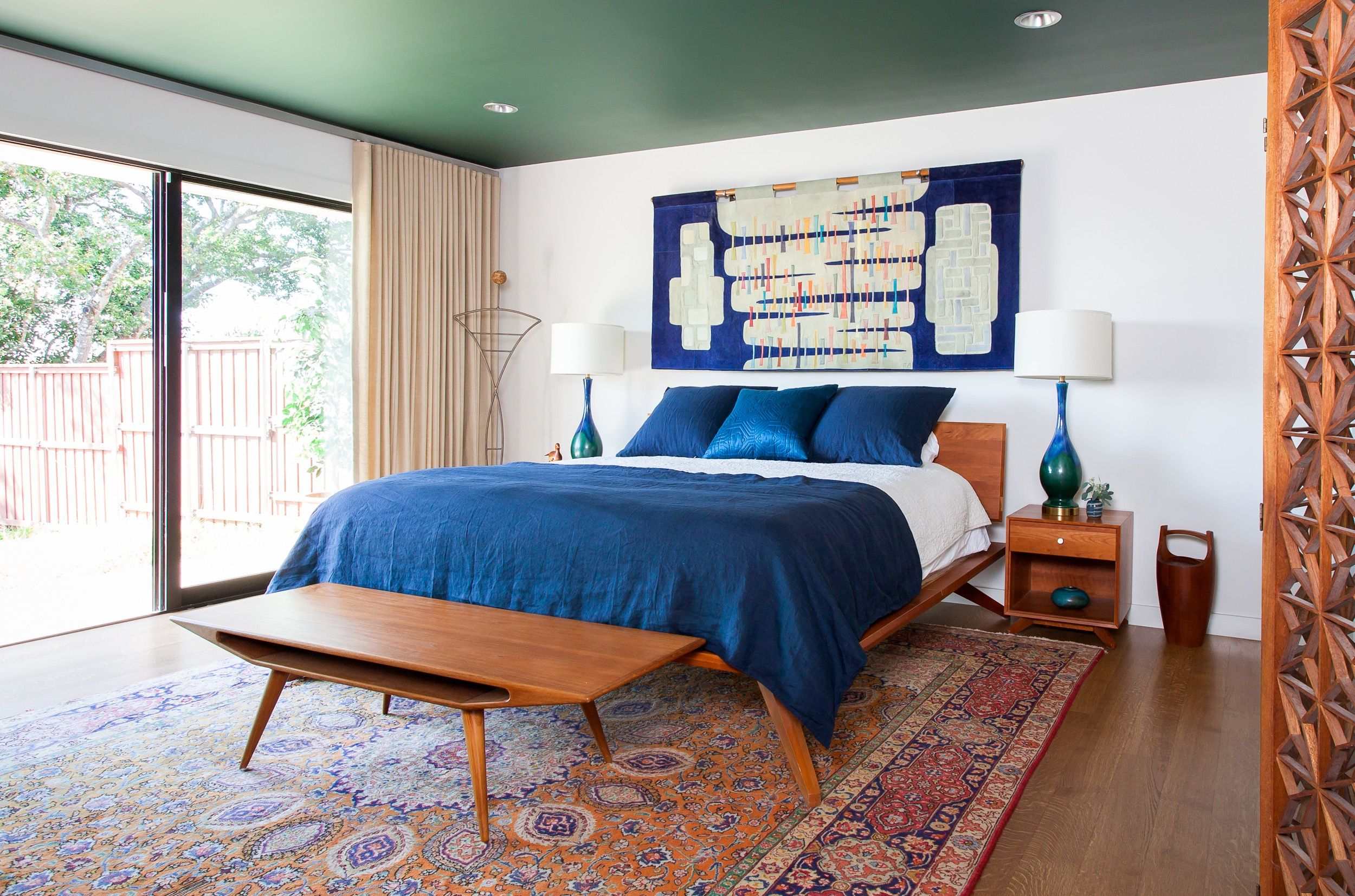 Midcentury Modern Master Bedroom with New Modern Furniture and ...