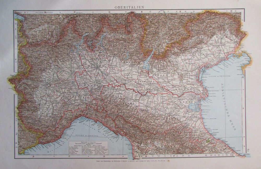 1893 Oberitalien Italien Alte Landkarte Karte Antique Map Italy