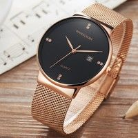 a4083077cf5 ROSE FLIGHT Simple Men s Business Wrist Watch Mesh Stainless Steel ...