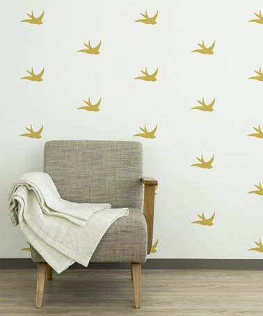 look at this #zulilyfind! gold swallow bird wall decal - set of 24