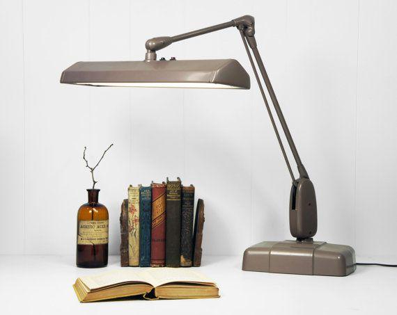 Vintage 1950's Industrial Dazor Floating Fixture Desk Lamp