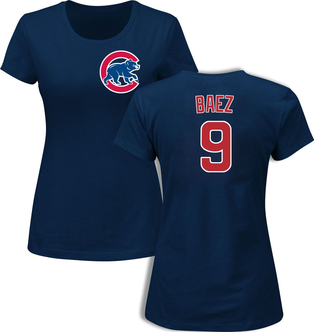new style f01dd 9cb58 Javier Baez Chicago Cubs Navy Women's Player T-Shirt by ...