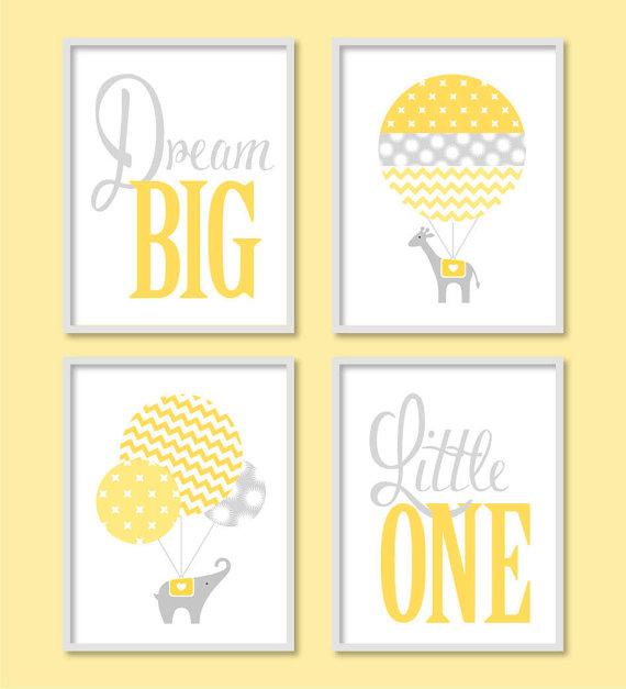 Modern Nursery Art, Dream Big Yellow Grey Nursery, Elephant Balloon ...