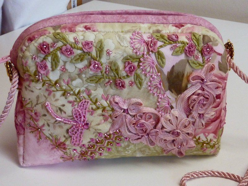 I ❤ crazy quilting  ribbon embroidery . . . Beaded Embroidered CQ Bag Pink and Green side1