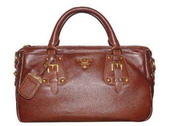 Prada BN2002 Brown Leather Tote Bag - Sale:$649.00
