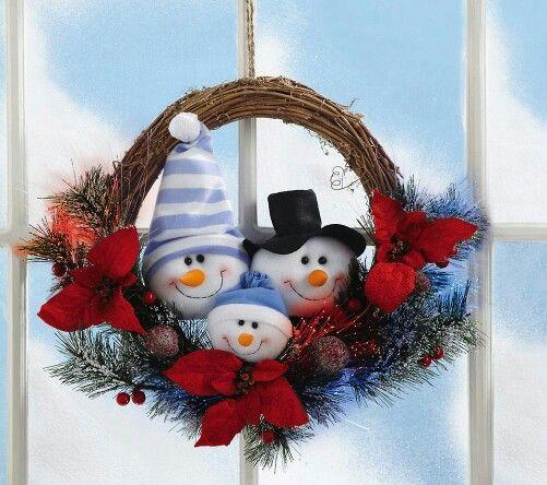 Ideas para decoracion con monos de nieve de fieltro for Decoracion navidena artesanal
