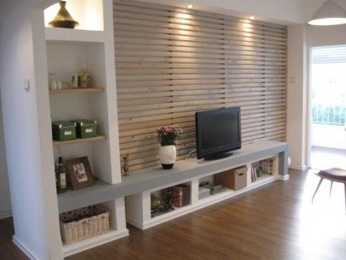 Meuble tv et entr e persiennes en bois meuble for Meuble de living moderne
