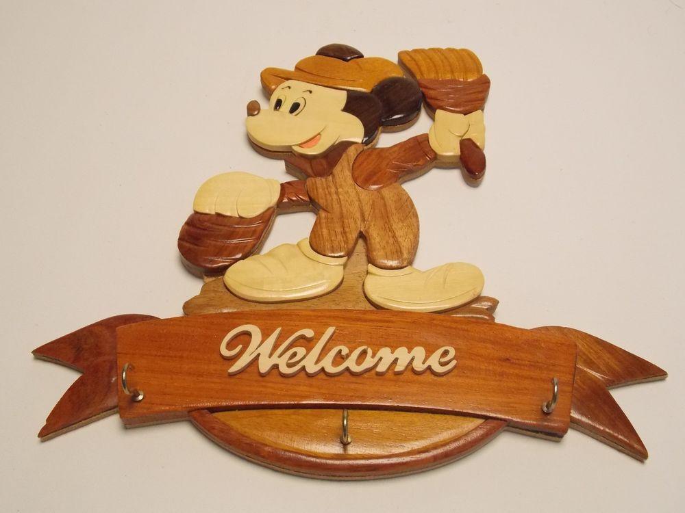 Disney Mickey Mouse Wood Wall Art Key Holder Welcome Sign Handmade Americana Americana Home Decor Home Decor Wall Plaques