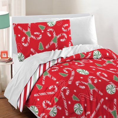 Twin Christmas Bedding Sets.The Holiday Aisle Candy Cane Cotton 2 Piece Comforter Set