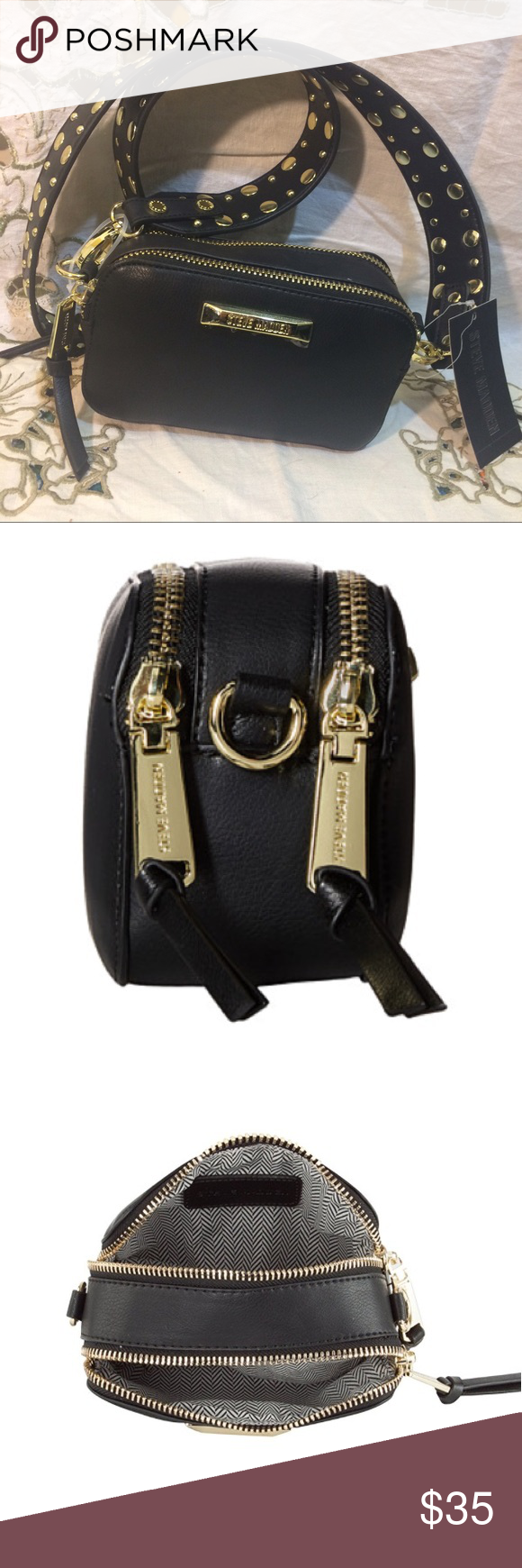 Steve Madden bwallace color block bag Black with gold Steve Madden Wallace  color block bag.