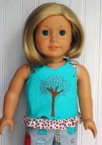 ruffled tank for 18″ doll--free pattern and tutorial