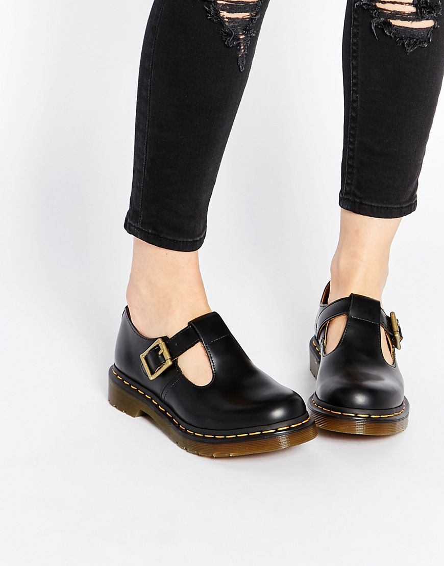 chaussures plates par dr martens tige en cuir v ritable bout arrondi forme salom fermeture par. Black Bedroom Furniture Sets. Home Design Ideas